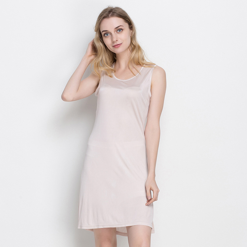 Woman O neck Solid Sleeveless Straight Knee length 100% Silk Tank Dresses Female Summer Thin Breathable Hedging Stretch Dress