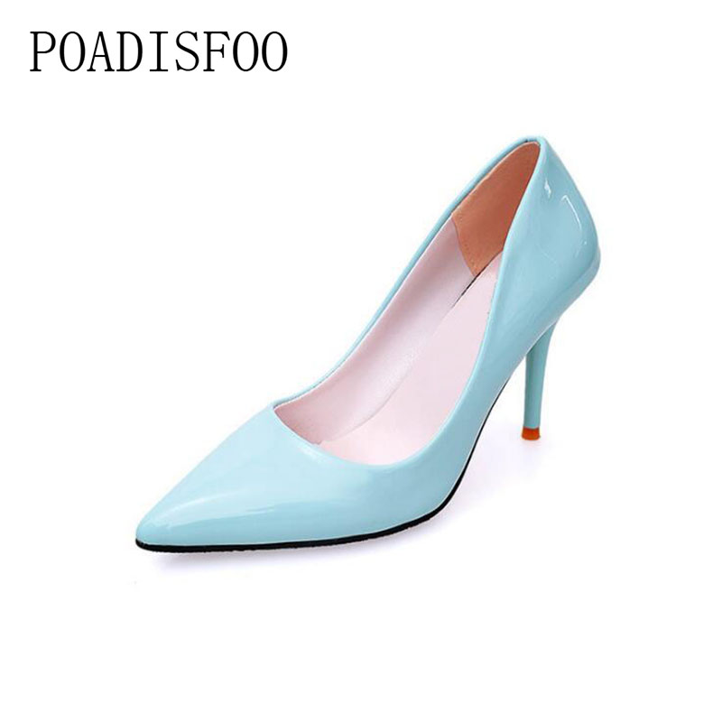 Pointed high-heeled women's solid color high heeled shallow mouth work shoes