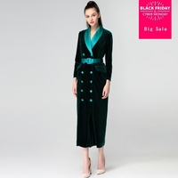 Winter High end women's coat parkas Gold velvet Windbreaker double breasted slim overcoat long sleeve casual outerwear L1537