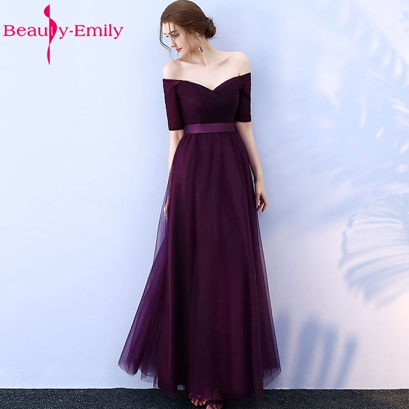Long Purple Red Gray Cheap Evening Dresses 2019 A Line Off the Shoulder Half Sleeve Vestido