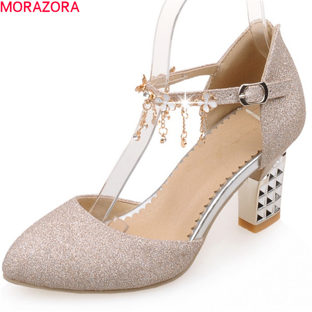 MORAZORA 2018 spring summer pointed toe ladies shoes with buckle square heel high heels sexy fashion pumps women shoes new 2017 spring summer women shoes pointed toe high quality brand fashion womens flats ladies plus size 41 sweet flock t179