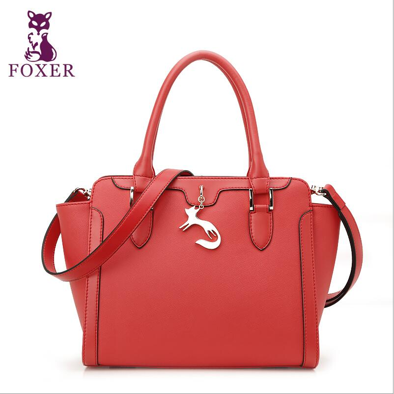 FOXER high-end luxury fashion leather handbag shoulder messenger bag 100% high-quality brand-name products of well-known women famous brand top quality cow leather women bag fashion shoulder messenger bag high end painted handbag boston package