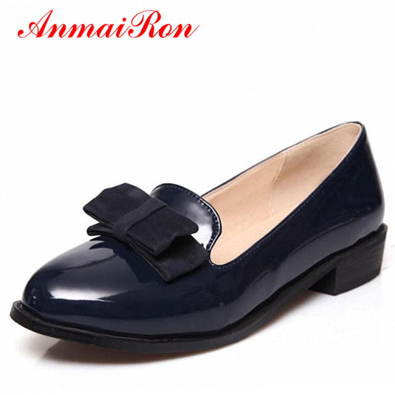 ФОТО ANMAIRON Spring Autumn Patent Leather Women's Flats Shoes Slip-on Lovely Bowtie Loafers Shoes Woman Black Red Blue Ladies Shoes