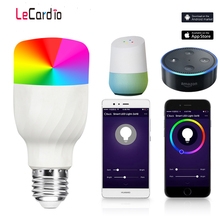 New E27 RGBW LED Lamp WiFi Smart Light Bulb 7W Dimmable Multicolor Wake-Up Lights Compatible with Alexa and Google Assistant