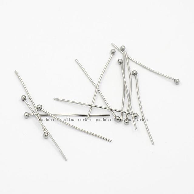 304 Stainless Steel Ball Headpins, Stainless Steel Color, 30mm, Pin: 0.7mm; about 500pcs/bag