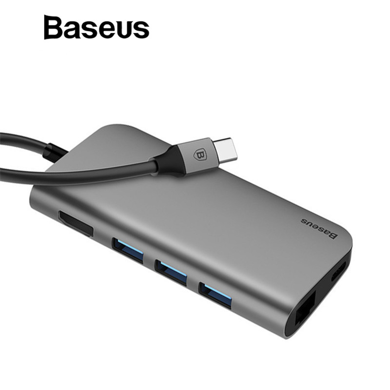 Baseus 8in1 USB Type C 3.1 HUB for Type C to 3 USB 3.0 / 4K HDMI / RJ45 Ethernet / Micro SD TF Card Reader / USB Type C OTG HUB new portable mini design charming 3 in 1 card reader usb type c micro usb 3 0 tf sd card reader support type c otg card reader