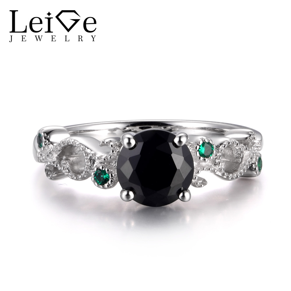 LeiGe Jewelry Natural Black Spinel Rings Unique Cocktail Party Rings Round Shape Black Gemstone Rings 925 Sterling Silver Gifts