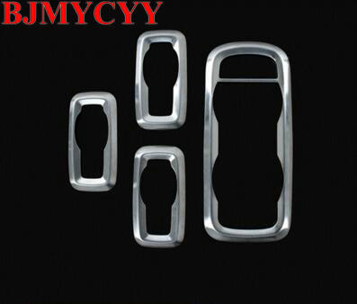 BJMYCYY Stainless steel trim Window lift switch decoration box refires regulator panel cover for Ford Ecosport 2013 2014 2015