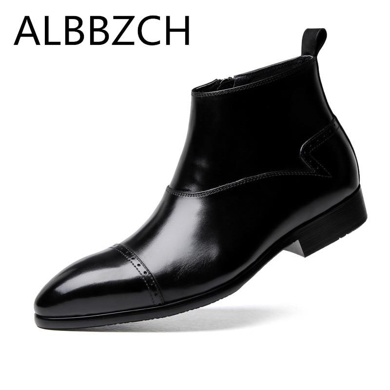 Boda Pie Dedo Ocio Negocios Del Trabajo Oficina Black Hombre Para Los Vestido Simple Tobillo Hombres Corto De Elegante Puntiagudo Moda Zapatos Fiesta Botas SwzFqR8
