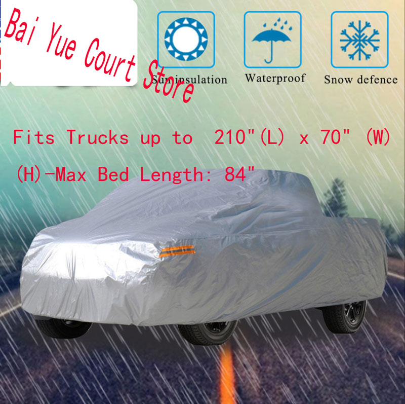 "Pickup Truck Car Cover Breathable All Weather Protection Scratch Rain Resistant Pickup truck Cover:210*70*65""(H)"