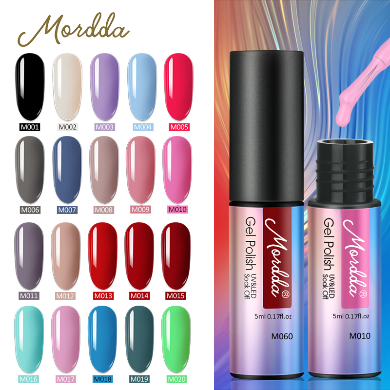 MORDDA 5 ML Nail Gel Polish For Manicure UV LED 60 Colors Nail Varnish Hybrid Semi Permanent Gel Lacquer Nail Art Design Tools(China)