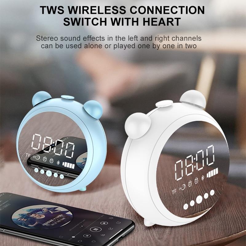 VTIN réveil Bluetooth haut-parleur LED HD miroir lampe de nuit haut-parleur sans fil boîte de son suspendue boîte de son appel haut-parleur de basse lourde