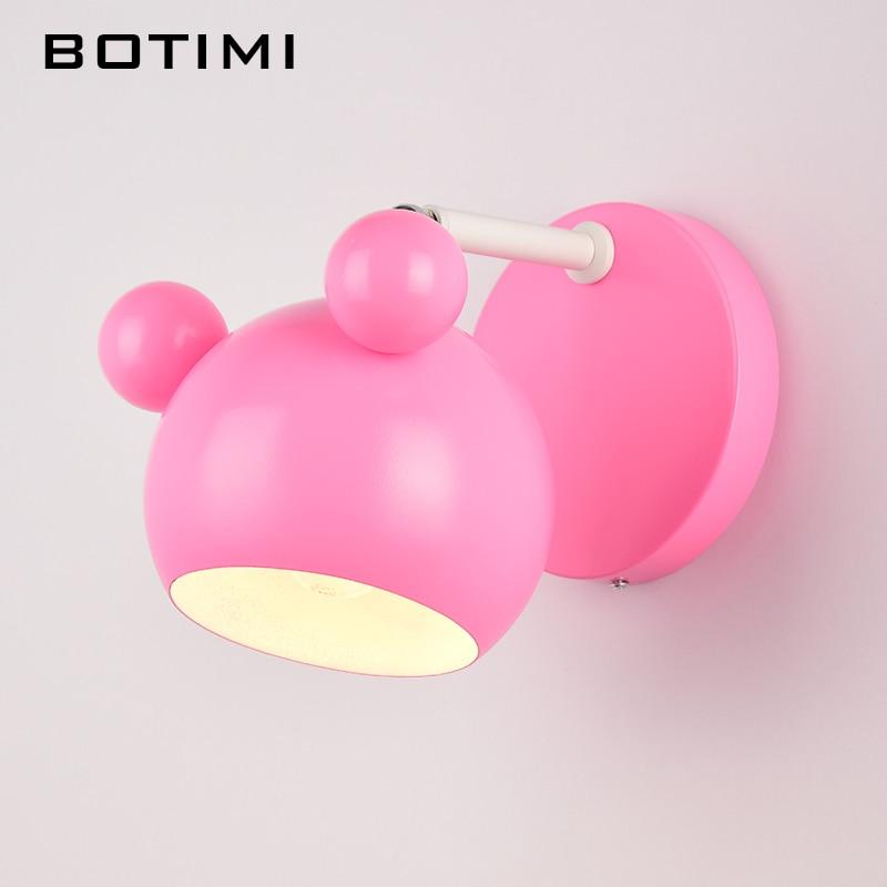 Botimi Cute Children Wall Lamp Pink Carton Iron Girls LED Wall ...
