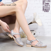 Lady Sandals Women Flats-Shoes Brown Black Designer Genuine-Cow-Leather Summer for Grey