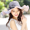 Summer Sun Hat For Women Uv Sunscreen Folding Beach Hats Elegant Flower Seaside Sun Hat Cap Female Striped Casual Wide Brim Hat