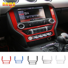 HANGUP 5 Color ABS Car Console Dashboard Panel Frame GPS Navigation Cover Interior Stickers For Ford Mustang 2015 Up Car Styling недорого