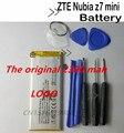 100% original zte nubia z7 mini batería 2380 mah de la batería para zte nubia z7 mini nx507j 5.0 ''smartphone en stock