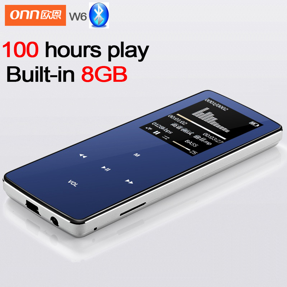 2016 New professional ONN MP3 Bluetooth Music Player 8GB storage 1 8 Inch Screen 60h Sports