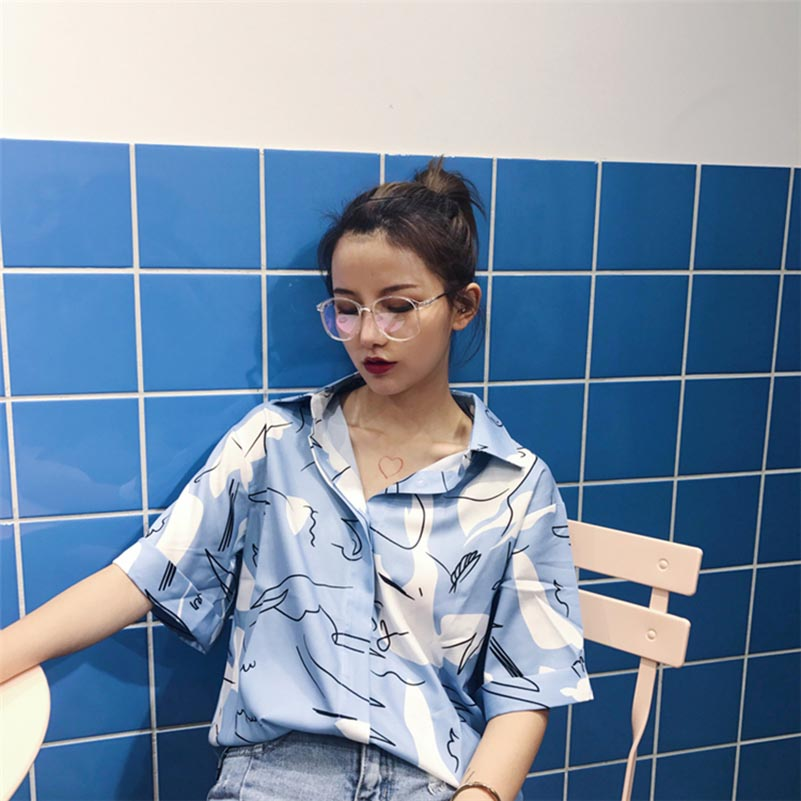 NiceMix Summer Harajuku Blouse Women Short Sleeve Casual Korean Shirt Womens Tops And Blouses Blusas Femininas De Verao 2019 in Blouses amp Shirts from Women 39 s Clothing