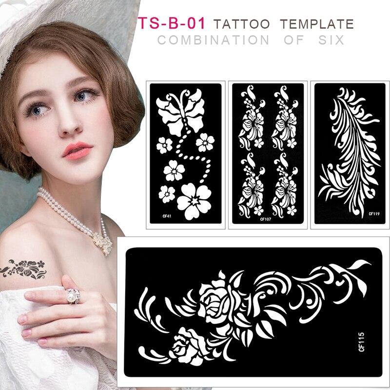 6Pcs Mixed Design Tattoo Template Sticker For Airbrush Glitter Tattoo Stencil 9.5*18.5cm Body Painting Glitter Tattoo TS-B-01