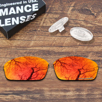 ToughAsNails Resist Seawater Corrosion Polarized Fire Red Mirrored Replacement Lens &Clear Nose Pads for Oakley Half Wire 2.0