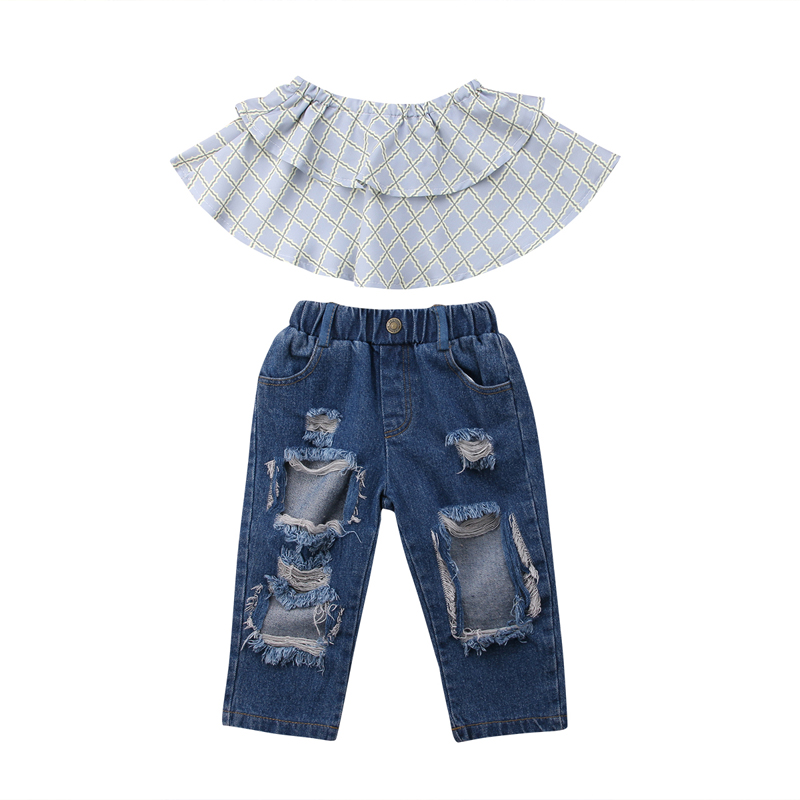 New Fashion Sttylish Toddler Kids Girls Clothing Off Shoulder Tops Long Pants 2Pcs Outfits Set