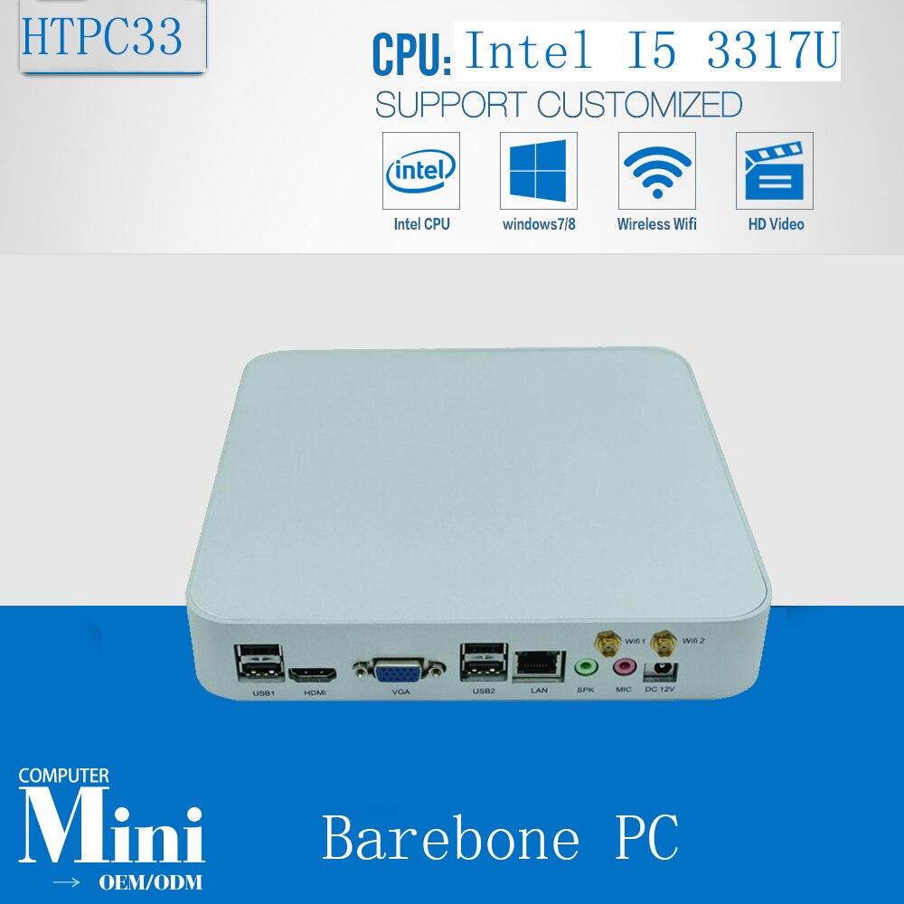 Mini ITX Fanless Industrial PC Desktop Computer Intel Core I5 3317U Barebone Machine  1 Gigabit LAN 4*USB 2.0
