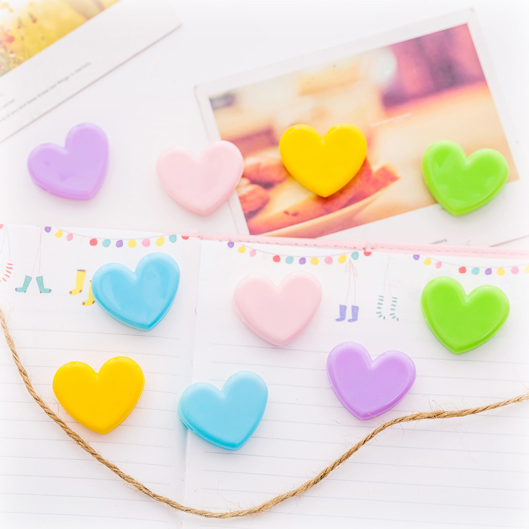 10pcs/lot Novelty Heart Shape Pink Color Mini Plastic Binder Clips Notes Letter Paper Clip Photo Clips Office Supplies FOD