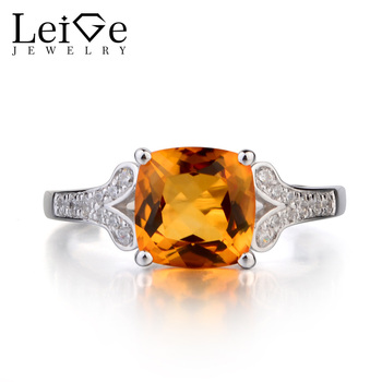 Leige Jewelry Genuine Natural Citrine 925 Sterling Silver Ring November Birthstone Gemstone Cushion Cut Promise Ring for Women