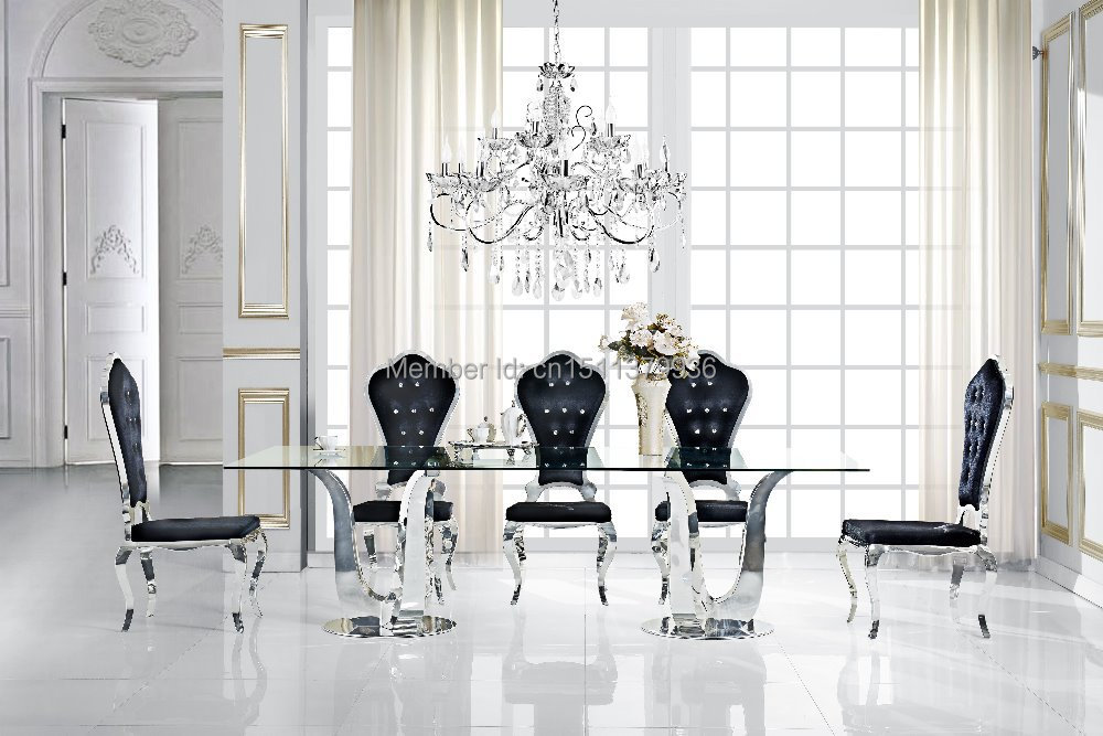 New fashion living room furniture stainless steel dining for Latest style dining table