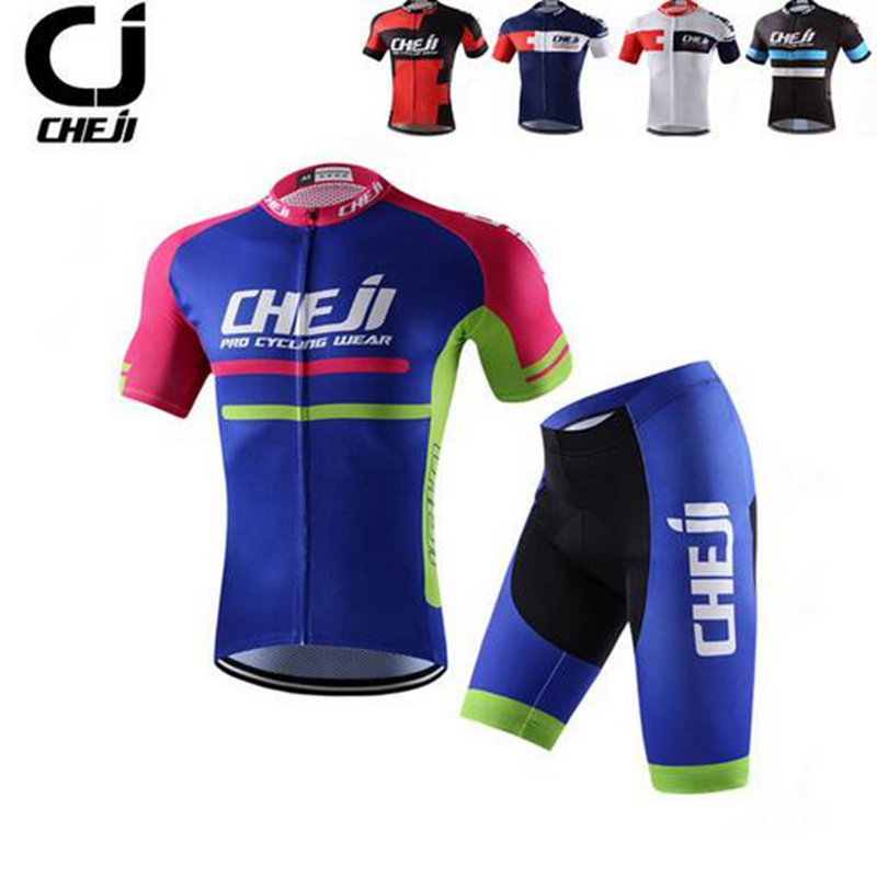 CHEJI PRO Team 2017 Mens Summer Ropa Ciclismo Short Sleeve Cycling Jersey MTB Bike Bicycle Riding Clothing Shirt GEL Shorts Sets teleyi team cycling outfits mens ropa ciclismo long sleeve jersey bib pants kits bicycle jacket trousers set red black