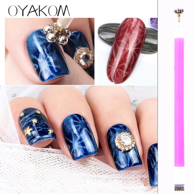 Oyakom Nail Art Magnet Stick Cat Eyes Double Headed Magnet For Nail
