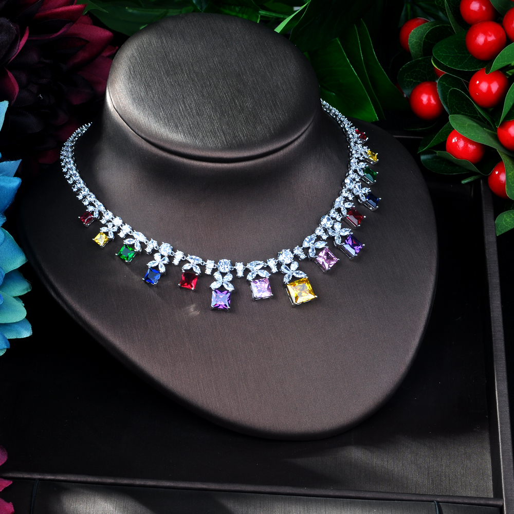 HIBRIDE musujące wielokolorowa cyrkonia sześcienna zestawy biżuterii dla kolczyki damskie naszyjnik zestaw suknia ślubna akcesoria Party GiftN 54 w Zestawy biżuterii od Biżuteria i akcesoria na  Grupa 3