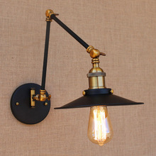 Iron Brass Retro Loft Style Industrial Wall Light Fixtures Edison Vintage Wall Sconce Swing Arm Lamp Appliques Murale LED loft industiral retro wall lamp glass flower cover iron wall light hotel bar indoor two wooden wall mounted swing arm lights