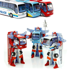 3 Styles Robot Transformation Bus Car Toys Alloy Deformation Police Robot Bus Toys For Kids children