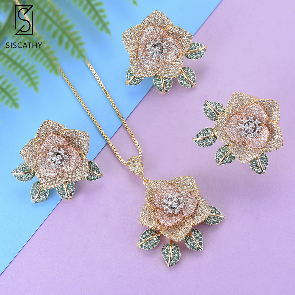 SISCATHY Flower Shape Dubai Wedding Necklace Stud Earrings Ring Jewelry Sets CZ Inlaid Jewelry ethiopian jewelry