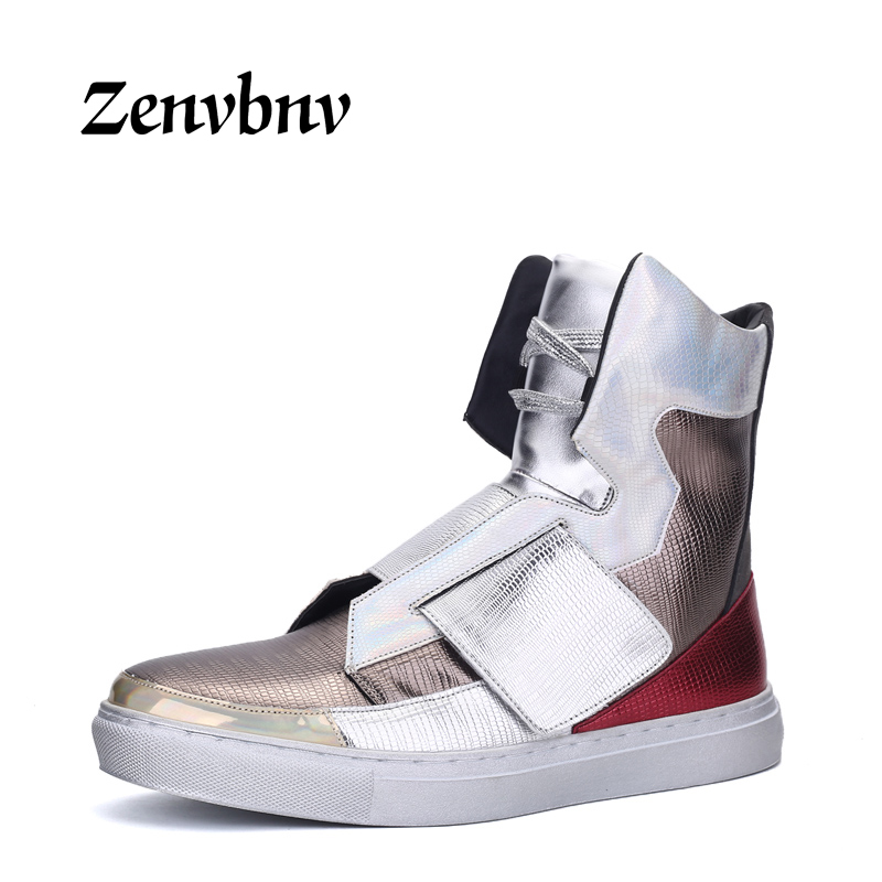 ZENVBNV Fashion High Top Casual Shoes For Men PU Leather Lace Up Black Mens White Shoes Fashion Men Sneakers Male Footwear Flats 2018 new fashion high top canvas shoes men stitching leather men s casual shoes lace up flats comfortable soft footwear