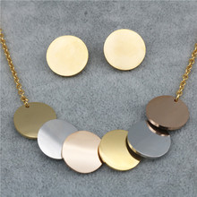 PZ Trendy Stainless Steel Three-Color Pendant Necklace Earrings Jewelry Sets for Women Wholesale(China)