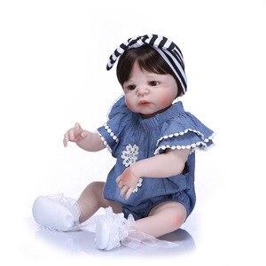 "Image 4 - NPK 57 ס""מ מלא סיליקון גוף Reborn בובת תינוק מציאותי בעבודת יד ויניל מקסים כמו בחיים פעוט Bebe באמת ילדים למשחק צעצועים"