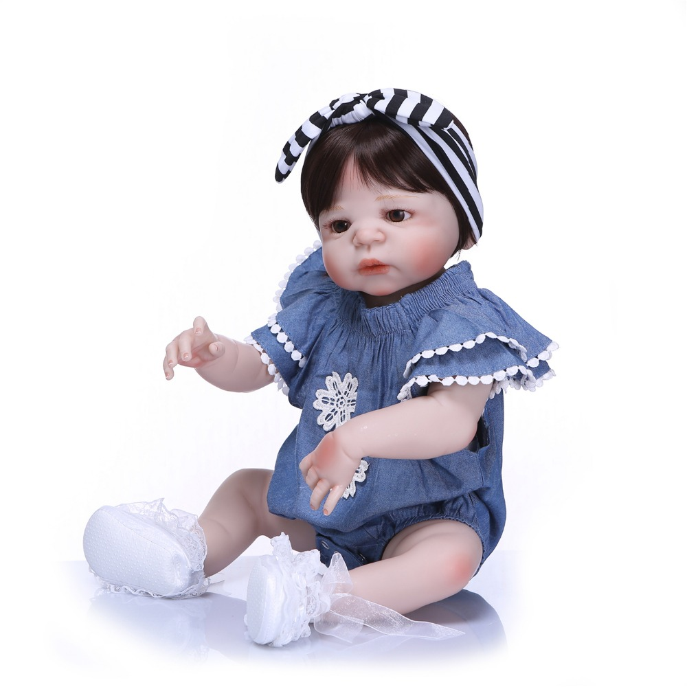 Image 4 - NPK 57cm Full Silicone Body Reborn Baby Doll Realistic Handmade Vinyl Adorable Lifelike Toddler Bebe Truly Kids Playmates Toys-in Dolls from Toys & Hobbies