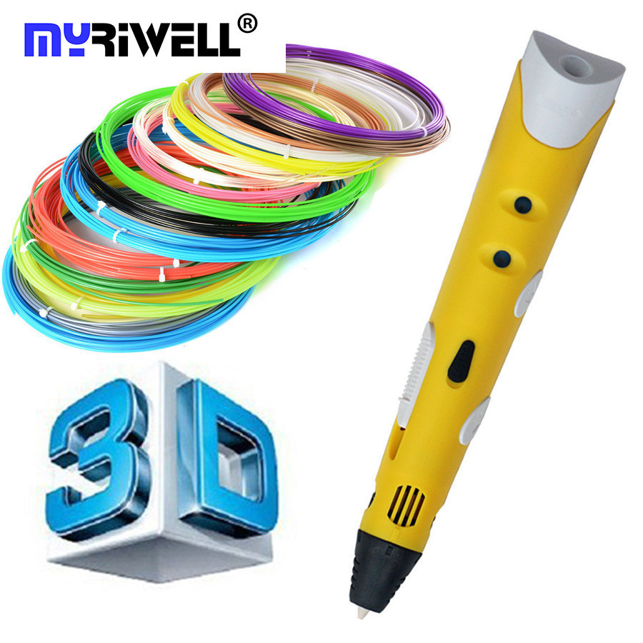 DIY Smart Printing 3D Pen Maker Free 1.75mm ABS/PLA Filament Adapter Creative Gift For Kids Design Painting Drawing Yellow Color christmas gifts fast epacket dewang newest 3d pen wiht usb cable low temperature free 9m abs pla child gift for imagination
