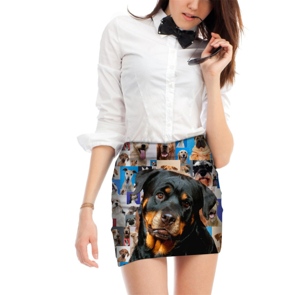 Noisydesigns Sexy Women Dog 3D Dog Horse Printed Female Party Pencil Skirts Office Lady Stretch Summer Breathable Mini Skirts