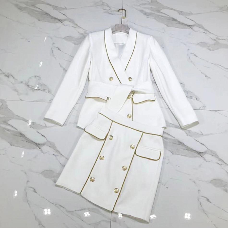 Up Ol Ensemble Manteau À Dentelle Femme Longues Robes 2018 Deux Tunique Pièces Automne Blanc Manches 1wnqU8
