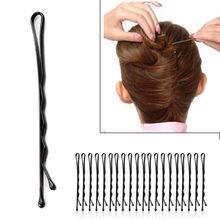 60Pcs/Set Girl Black Metal Waved Hair Bobby Clip Salon Pin