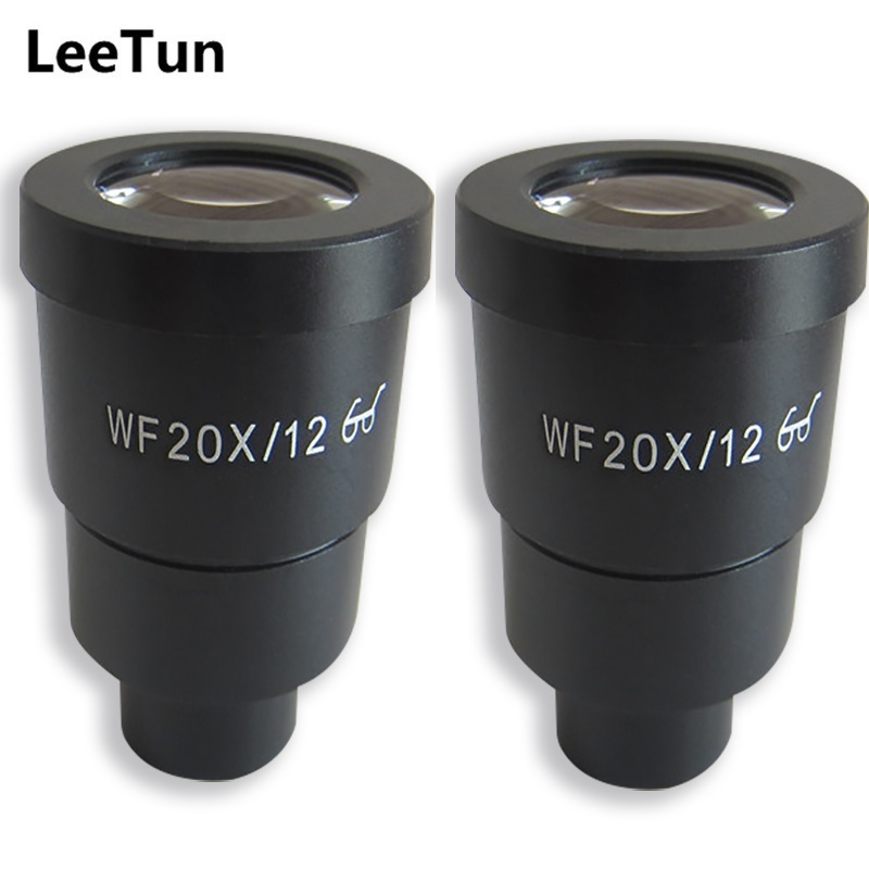 A Pair WF20X/12 High Eye-point Eyepiece for Stereo Microscope Wide Field Optical Lens Mounting Size 30mm Field of View 12mm