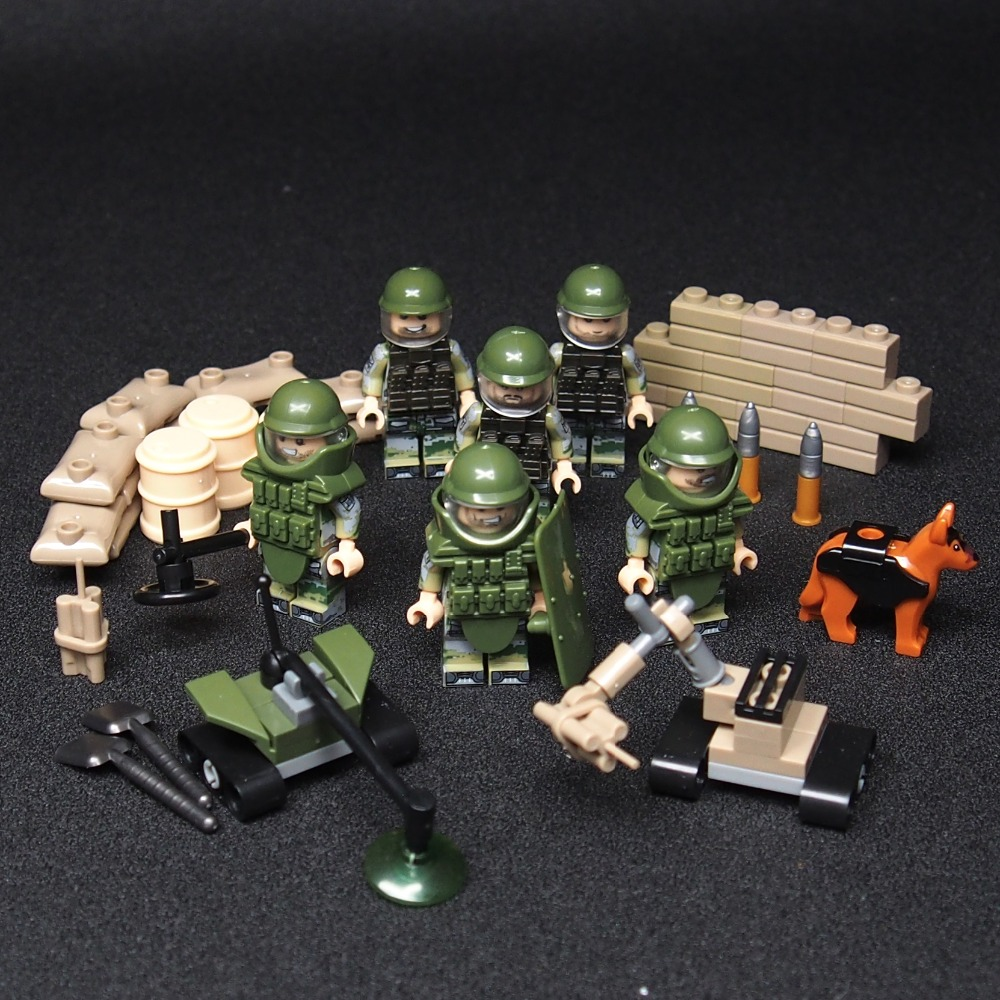 MOC Bomb Disposal Unit military weapon Army soldiers building blocks best toys for children green black legoes bimast bomb premium купить челябинск