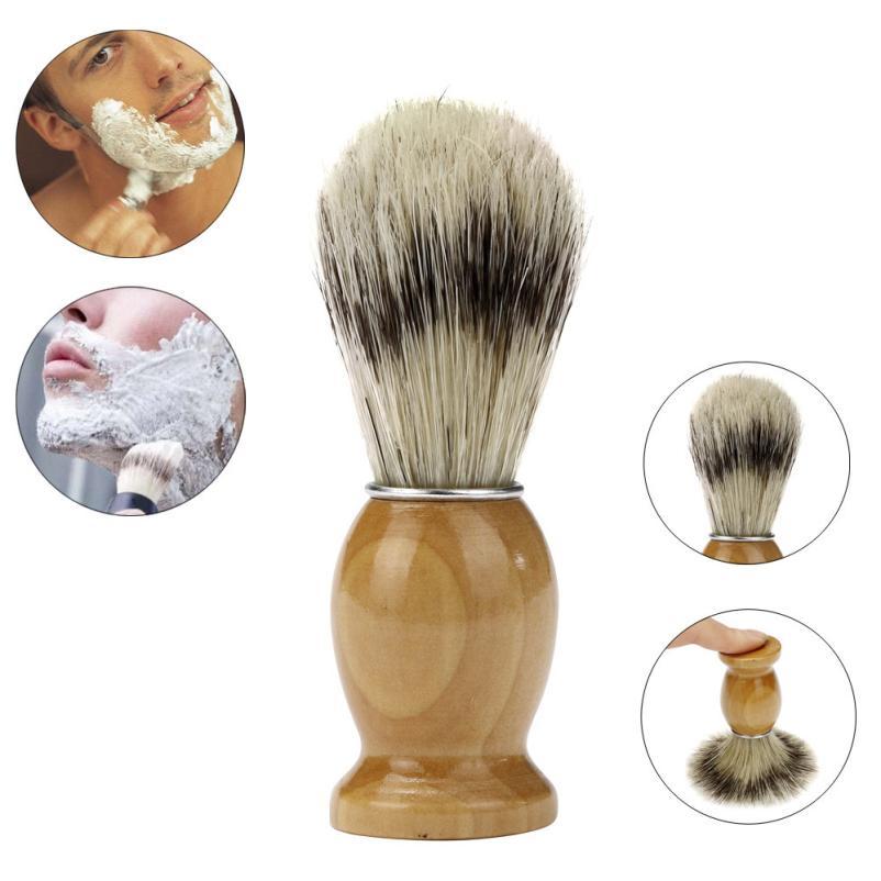 Parranajokoneen parranajokoneen parranajonahkaharja Puun kahva Professional Barber Salon Tool 3AP20