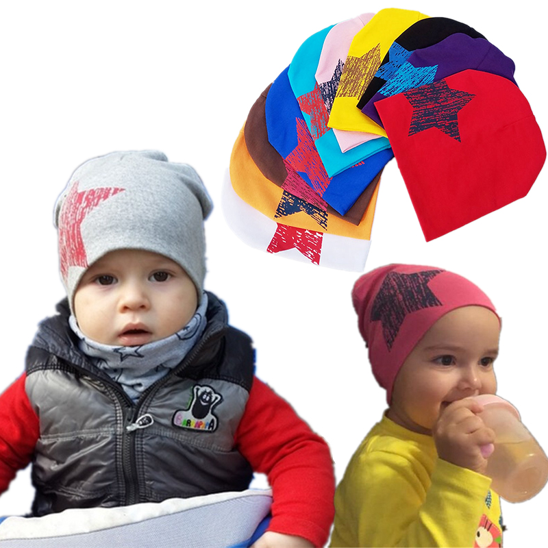 2018 Spring Infant Hat Autumn Caps Colorful Print Star Baby Beanie For Boys Girls Cotton Knit Hat Children Winter Hats Solid Cap