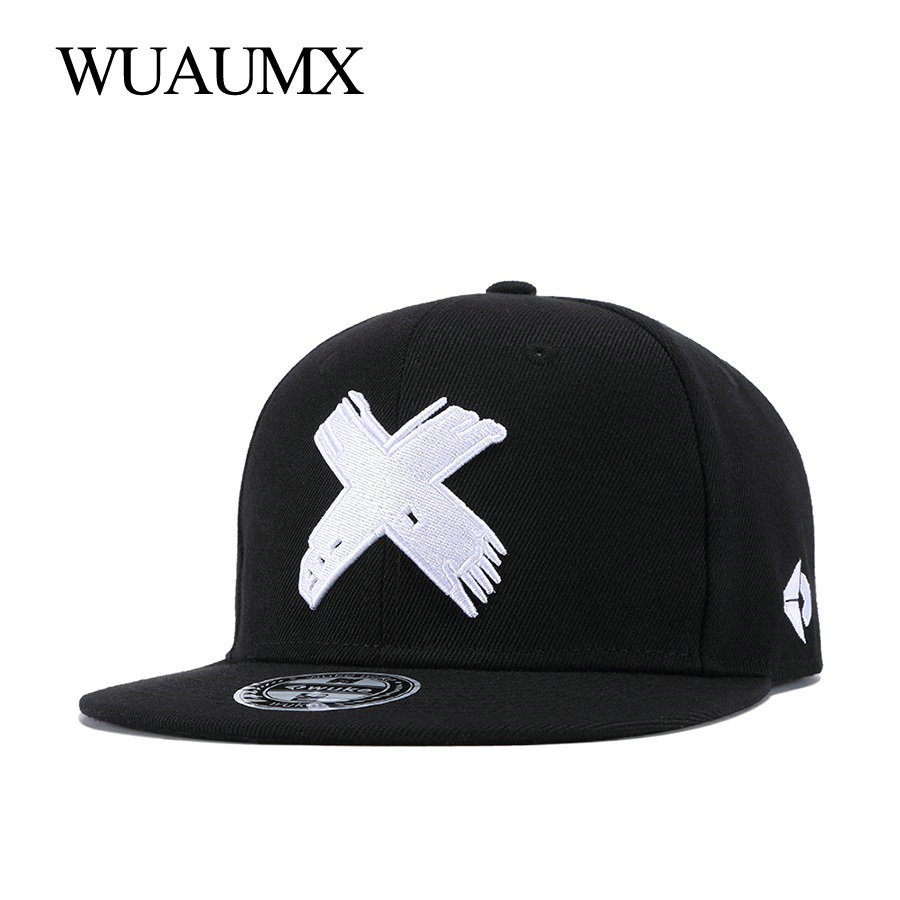 Wuaumx NEW Branded X Embroidery Snapback Caps For Women Men  Classic Baseball Cap Fitted Hip Hop Dancer Hat Casquette Wholesale