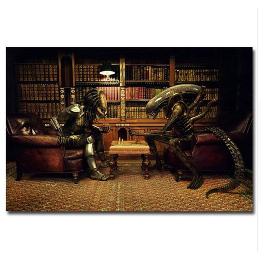 Alien vs Predator 3 Schach Spielen Movie Art Silk Plakat druck 12x18 ...